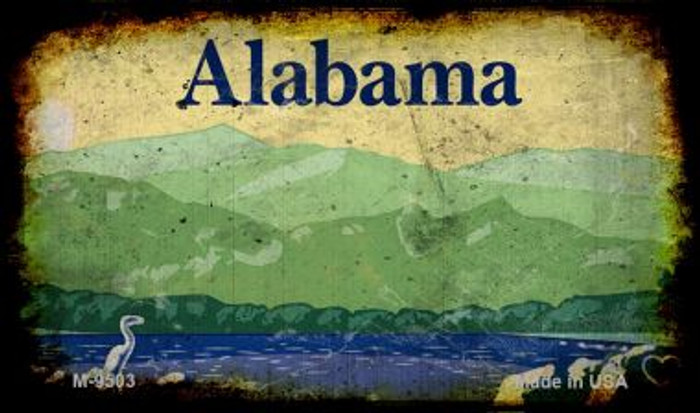 Alabama Rusty Blank Background Wholesale Aluminum Magnet M-9503
