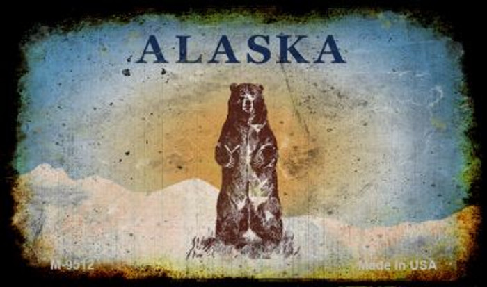 Alaska Bear Rusty Blank Background Wholesale Aluminum Magnet M-9512