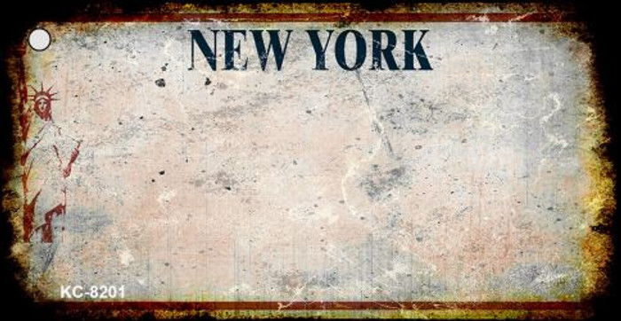 New York White Rusty Blank Background Wholesale Aluminum Key Chain KC-8201