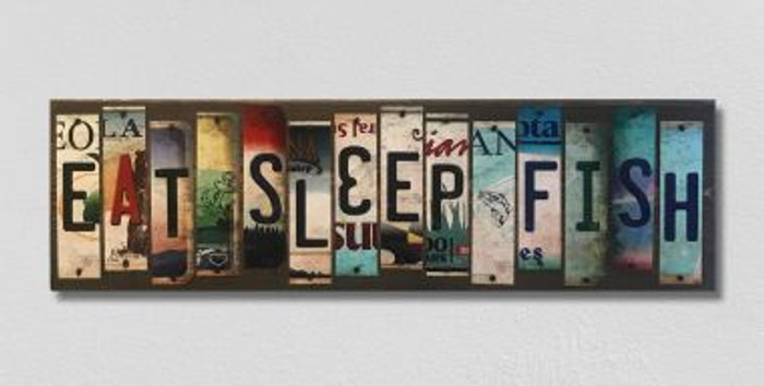 Eat Sleep Fish License Plate Strip Wholesale Novelty Wood Sign WS-010