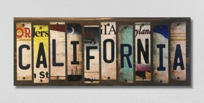California License Plate Strip Wholesale Novelty Wood Sign WS-012