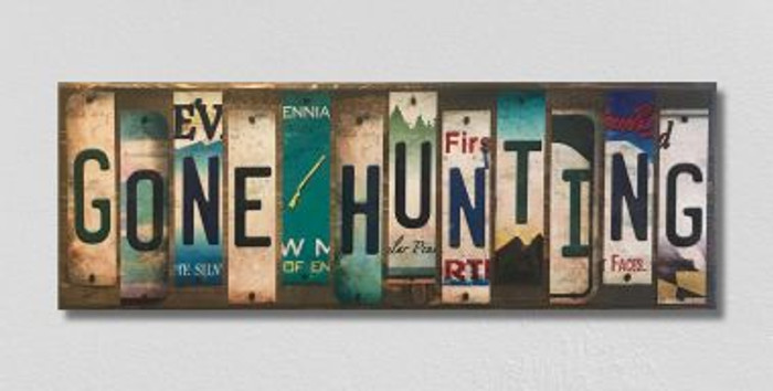 Gone Hunting License Plate Strip Wholesale Novelty Wood Sign WS-035