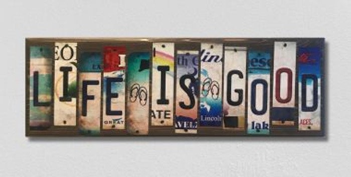 Life Is Good License Plate Strip Wholesale Novelty Wood Sign WS-041