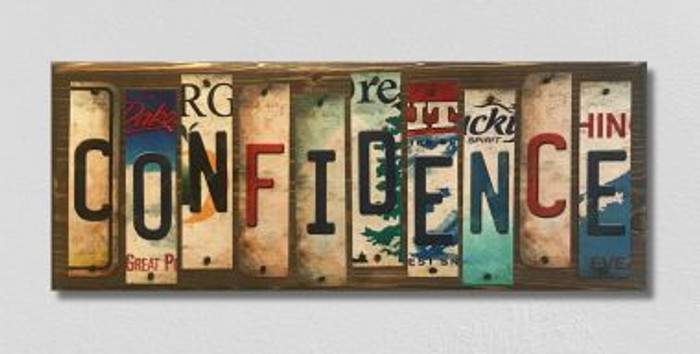 Confidence License Plate Strip Wholesale Novelty Wood Sign WS-043