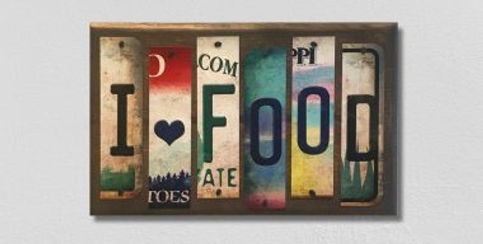 I Love Food License Plate Strip Wholesale Novelty Wood Sign WS-045