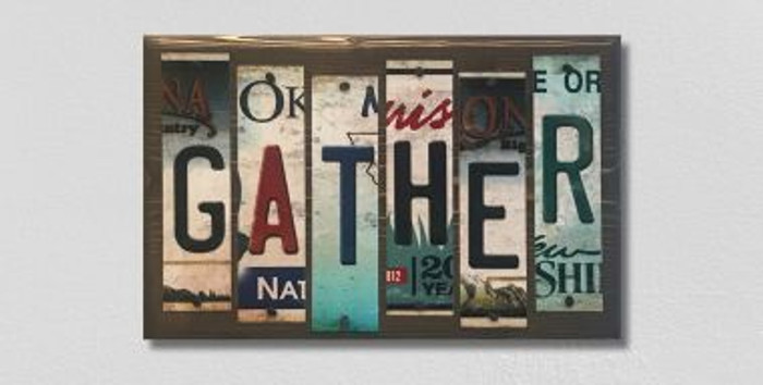 Gather License Plate Strip Wholesale Novelty Wood Sign WS-049
