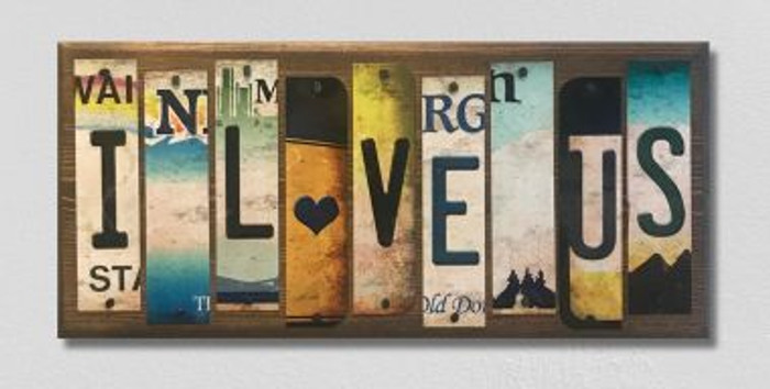 I Love Us License Plate Strip Wholesale Novelty Wood Sign WS-051