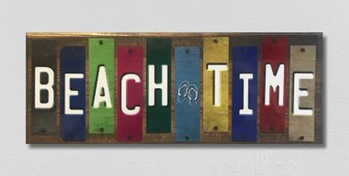 Beach Time License Plate Strip Wholesale Novelty Wood Sign WS-055