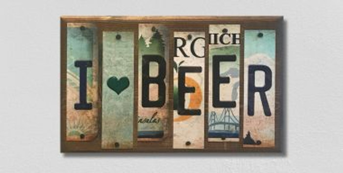 I Love Beer License Plate Strip Wholesale Novelty Wood Sign WS-059