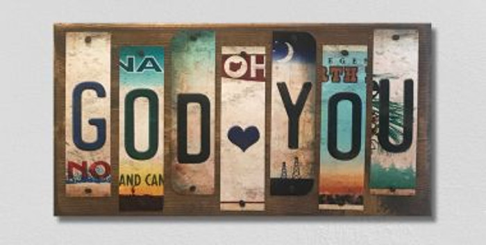 God Loves You License Plate Strip Wholesale Novelty Wood Sign WS-077