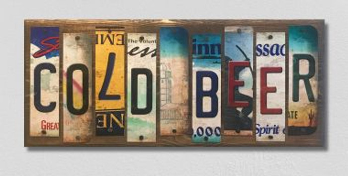 Cold Beer License Plate Strip Wholesale Novelty Wood Sign WS-085