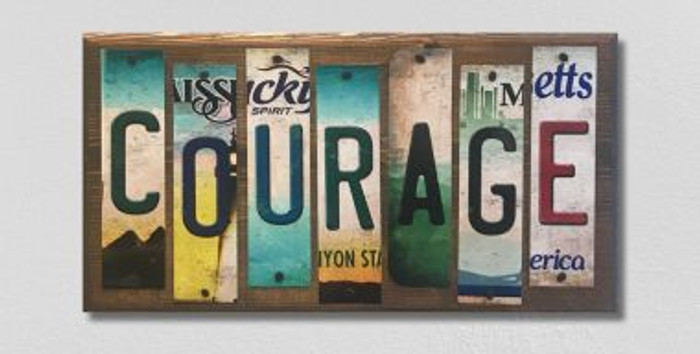 Courage License Plate Strips Wholesale Novelty Wood Sign WS-090