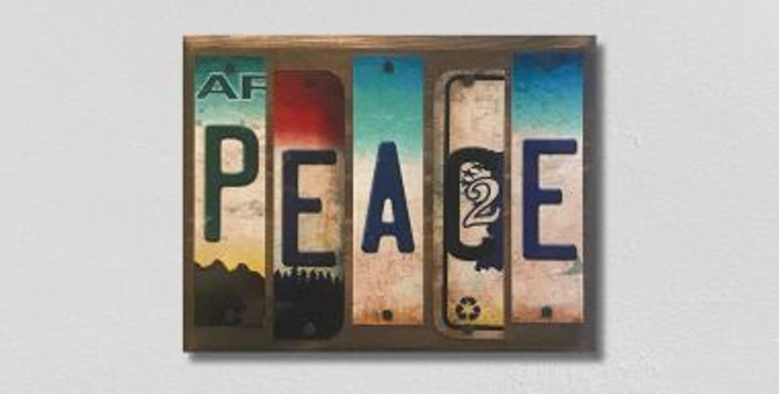 Peace License Plate Strips Wholesale Novelty Wood Sign WS-095