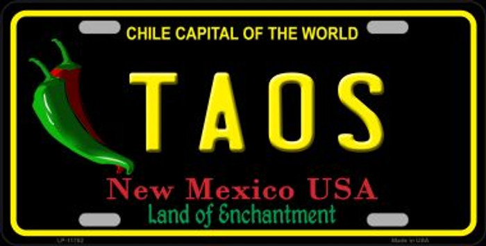 Taos New Mexico Black Wholesale State License Plate LP-11752