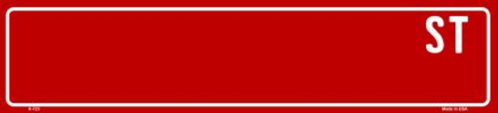 Red Street Blank Wholesale Novelty Mini Street Sign K-723