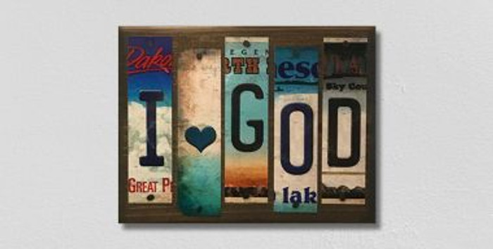 I Love God License Plate Strips Wholesale Novelty Wood Sign WS-124