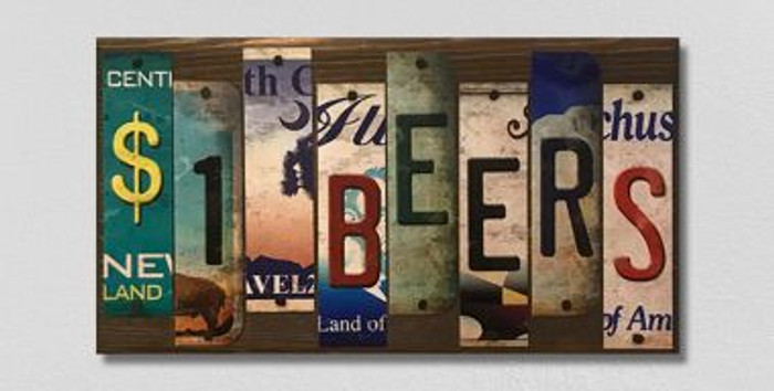 1 Dollar Beers License Plate Strips Wholesale Novelty Wood Sign WS-126