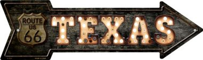 Texas Route 66 Bulb Letters Wholesale Novelty Metal Arrow Sign A-426