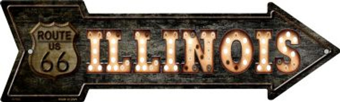 Illinois Route 66 Bulb Letters Wholesale Novelty Metal Arrow Sign A-430