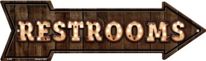 Restrooms Bulb Letters Wholesale Novelty Arrow Sign A-455