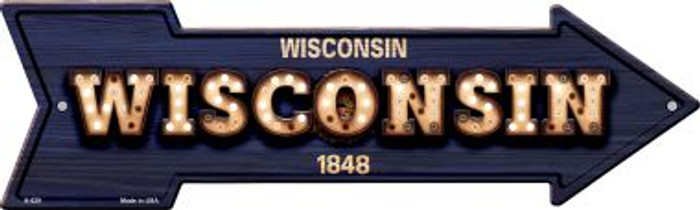 Wisconsin Bulb Lettering With State Flag Wholesale Novelty Arrows A-629