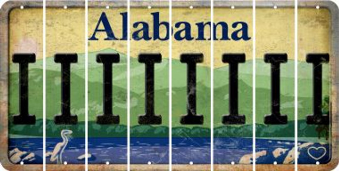 Alabama I Cut License Plate Strips (Set of 8) LPS-AL1-009