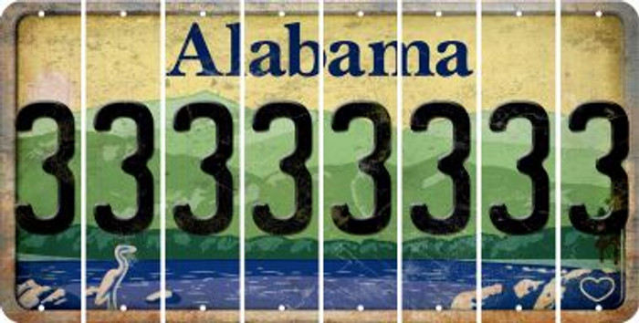 Alabama 3 Cut License Plate Strips (Set of 8) LPS-AL1-030