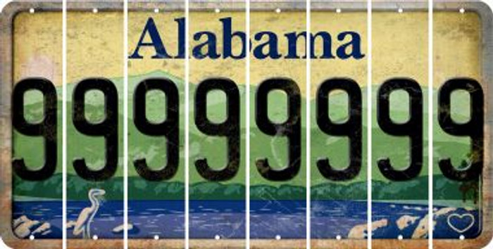 Alabama 9 Cut License Plate Strips (Set of 8) LPS-AL1-036