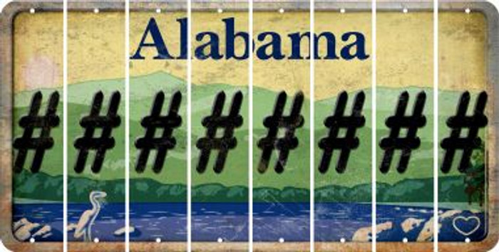 Alabama HASHTAG Cut License Plate Strips (Set of 8) LPS-AL1-043