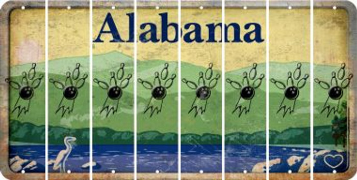 Alabama BOWLING Cut License Plate Strips (Set of 8) LPS-AL1-059