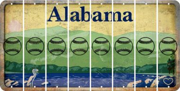 Alabama BASEBALL / SOFTBALL Cut License Plate Strips (Set of 8) LPS-AL1-063