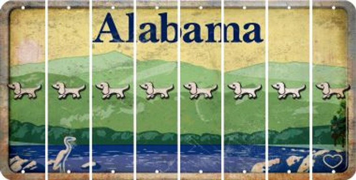 Alabama DOG Cut License Plate Strips (Set of 8) LPS-AL1-073