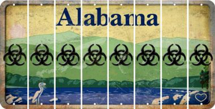 Alabama BIO HAZARD Cut License Plate Strips (Set of 8) LPS-AL1-084