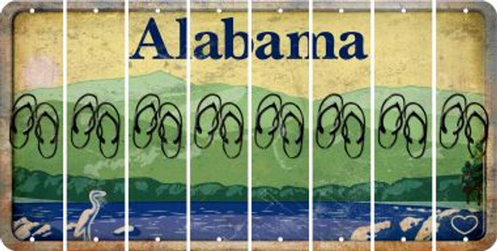 Alabama FLIP FLOPS Cut License Plate Strips (Set of 8) LPS-AL1-085