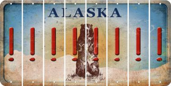 Alaska EXCLAMATION POINT Cut License Plate Strips (Set of 8) LPS-AK1-041