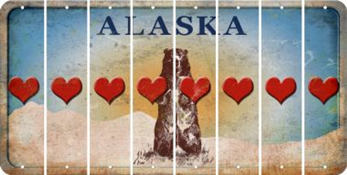 Alaska HEART Cut License Plate Strips (Set of 8) LPS-AK1-081