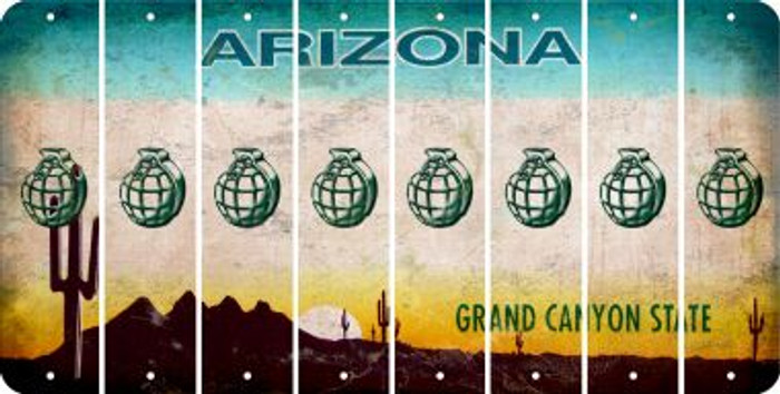 Arizona HAND GRENADE Cut License Plate Strips (Set of 8) LPS-AZ1-050