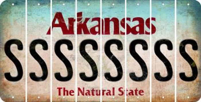 Arkansas S Cut License Plate Strips (Set of 8) LPS-AR1-019