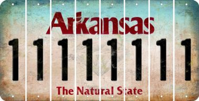 Arkansas 1 Cut License Plate Strips (Set of 8) LPS-AR1-028