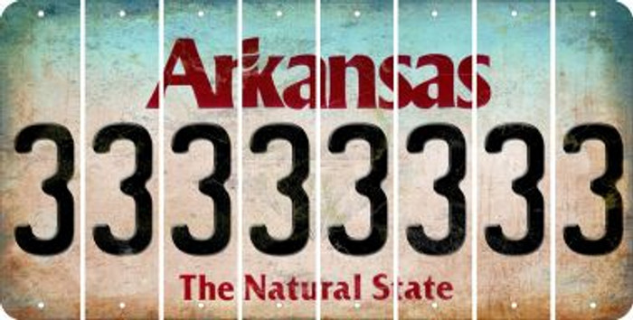 Arkansas 3 Cut License Plate Strips (Set of 8) LPS-AR1-030
