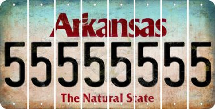 Arkansas 5 Cut License Plate Strips (Set of 8) LPS-AR1-032