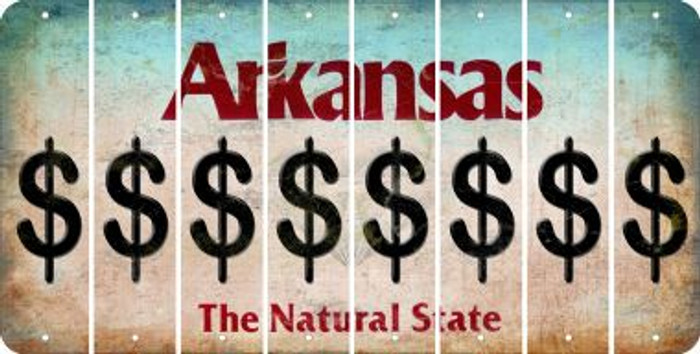 Arkansas DOLLAR SIGN Cut License Plate Strips (Set of 8) LPS-AR1-040