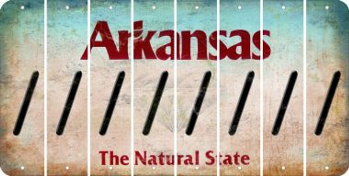 Arkansas FORWARD SLASH Cut License Plate Strips (Set of 8) LPS-AR1-042
