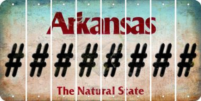 Arkansas HASHTAG Cut License Plate Strips (Set of 8) LPS-AR1-043