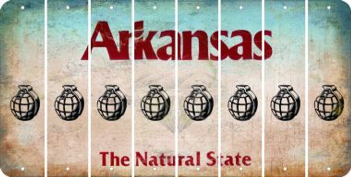 Arkansas HAND GRENADE Cut License Plate Strips (Set of 8) LPS-AR1-050
