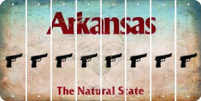 Arkansas HANDGUN Cut License Plate Strips (Set of 8) LPS-AR1-051
