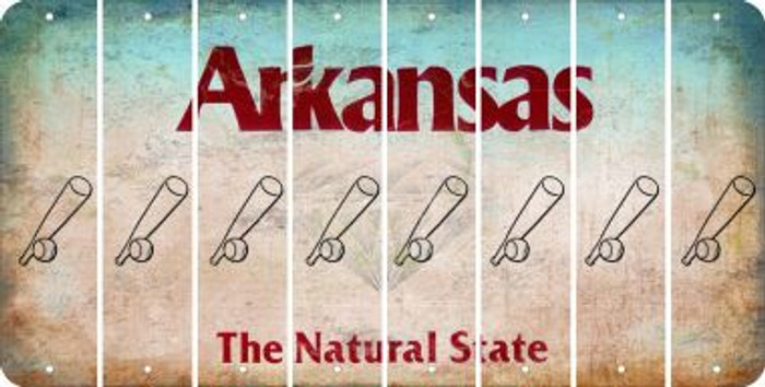 Arkansas BASEBALL WITH BAT Cut License Plate Strips (Set of 8) LPS-AR1-057