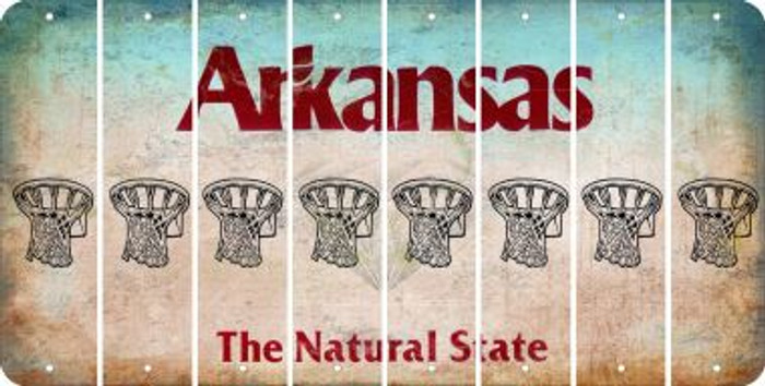 Arkansas BASKETBALL HOOP Cut License Plate Strips (Set of 8) LPS-AR1-058