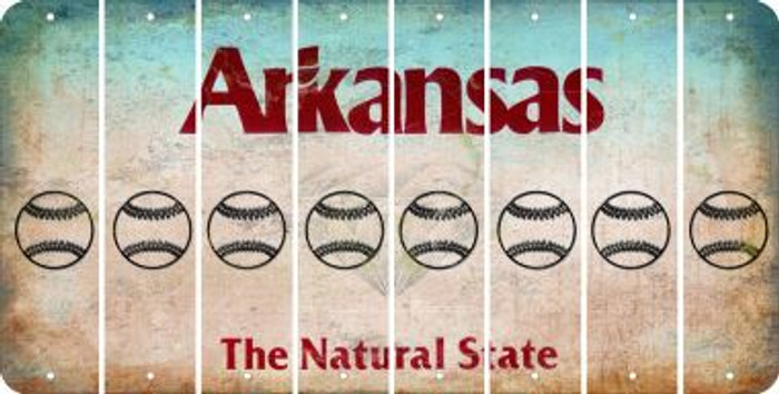 Arkansas BASEBALL / SOFTBALL Cut License Plate Strips (Set of 8) LPS-AR1-063