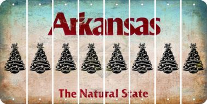 Arkansas CHRISTMAS TREE Cut License Plate Strips (Set of 8) LPS-AR1-077